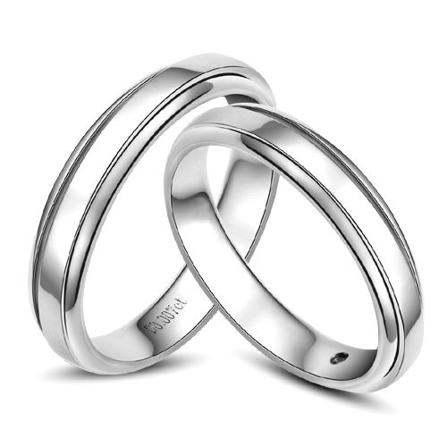 Anneaux d'or blanc 750/1000. Alliances androgynes duo. Diamants   Madeline & Horizon