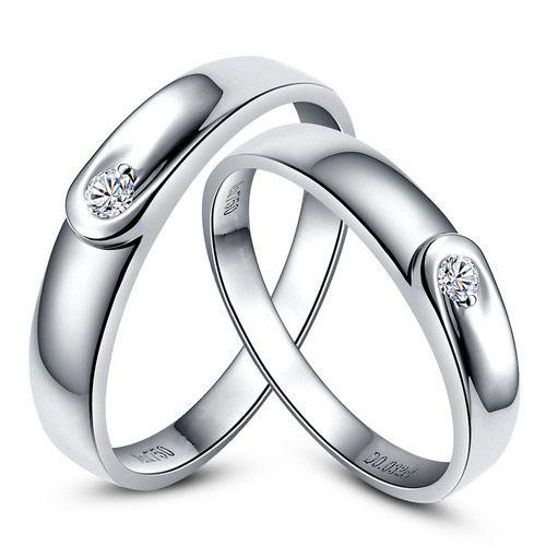 Alliances diamants et or blanc - Duo d'anneaux