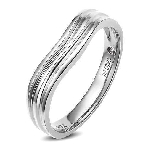 Alliance ondulée motifs striés - Platine - Diamant - Homme | Ami