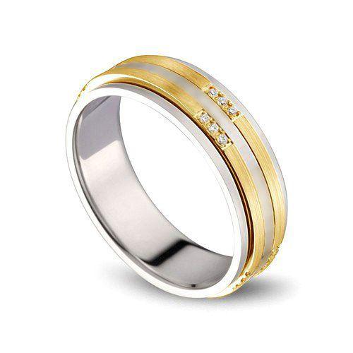 Alliance 2 ors Homme - Or blanc poli et jaune brossé - Diamants