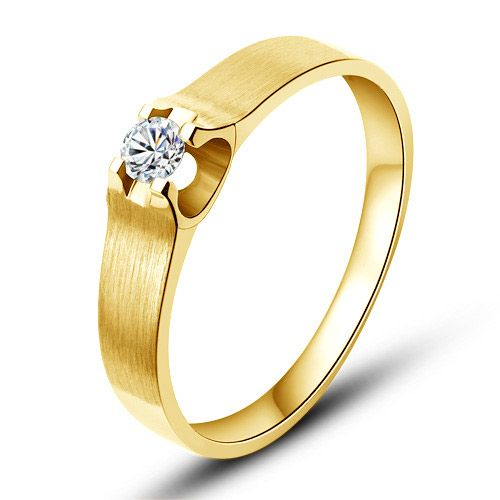 Alliance or jaune et diamant - Alliance solitaire pour Femme