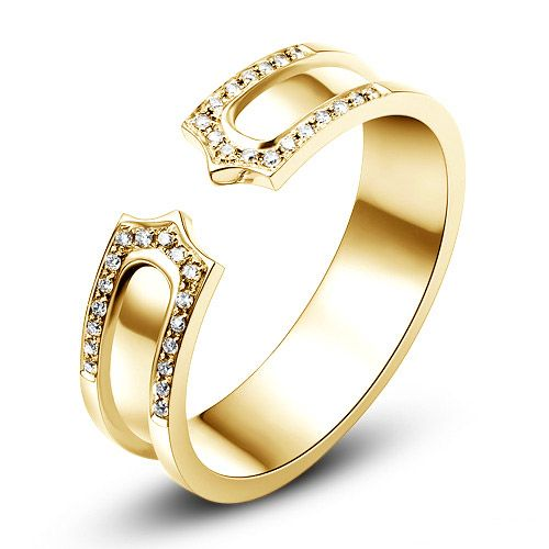 Alliance or jaune originale - Anneau discontinu pour Elle - Diamants | Otsara