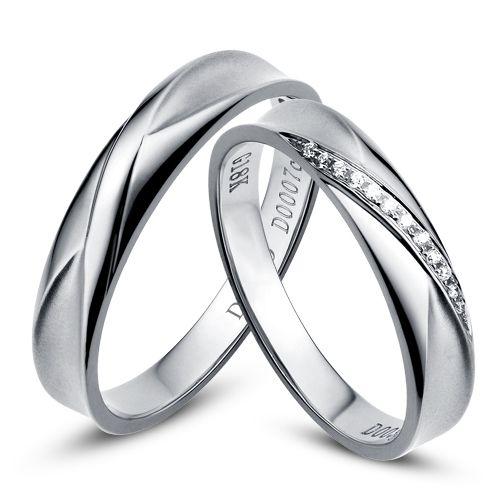 Duo d'alliances prestige. Design en diagonale. Or blanc, diamants