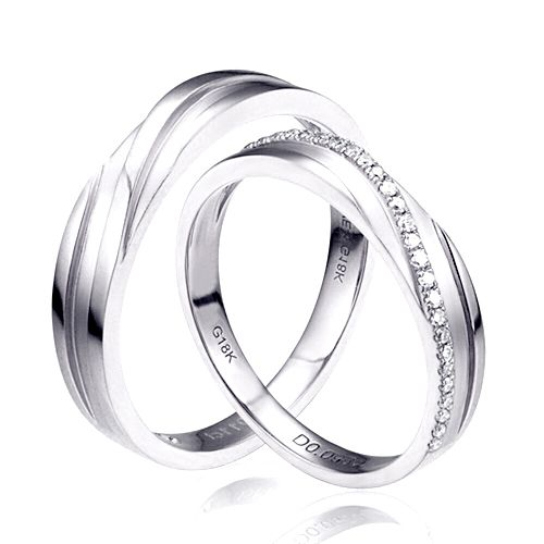Duo d'alliances prestige - Design en diagonale -  Or blanc, diamants   Gemperles
