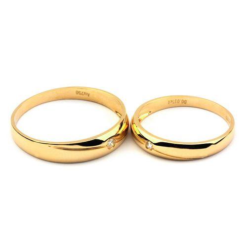 Alliances Couple. Or jaune 18cts, Diamants