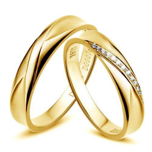Duo d'alliances prestige. Design en diagonale. Or jaune, diamants