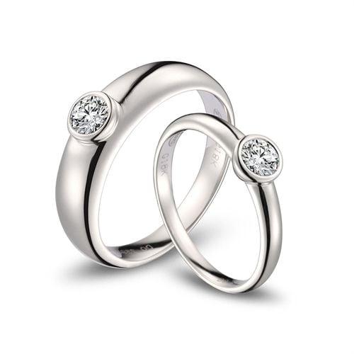 Alliances Couple. Or blanc. Diamants 0.60ct   Galina & Martens