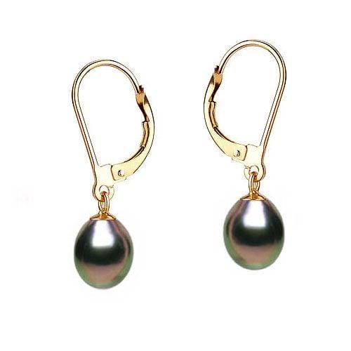 Boucles oreilles perles noires - Dormeuses or jaune - Perles 8.5/9mm