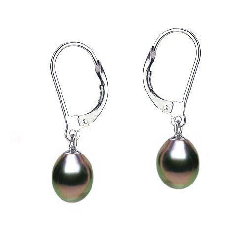 Boucles oreilles or blanc - Perles noires - Dormeuses eau douce 8.5/9mm