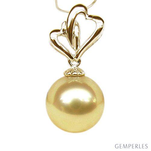 Ciondolo Cuori Dorati - Oro Giallo & Perla Gold dei Mari del Sud