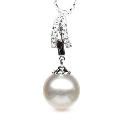 Pendentif or et diamants - Perle d'Australie blanche - or blanc