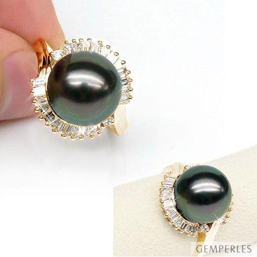 Anello Couronne - Oro Giallo, Diamanti e Perla di Tahiti - 2