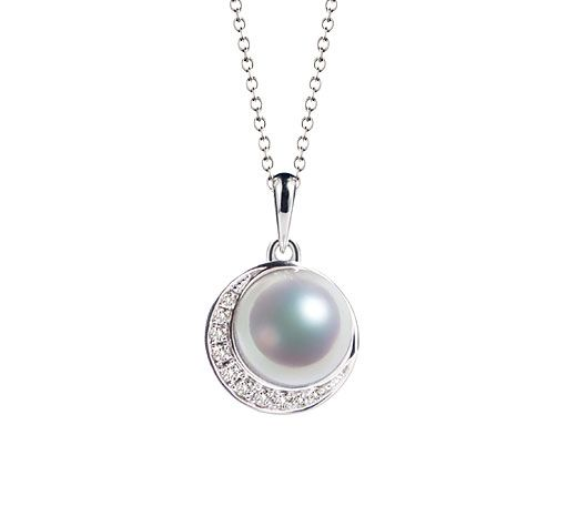 Pendentif couronne Or blanc Diamants. Perle Akoya