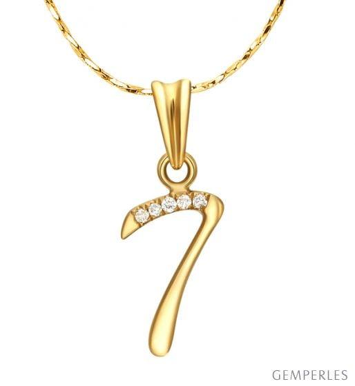 Pendentif chiffre 7 - Or jaune 18cts - Diamants 0.01ct