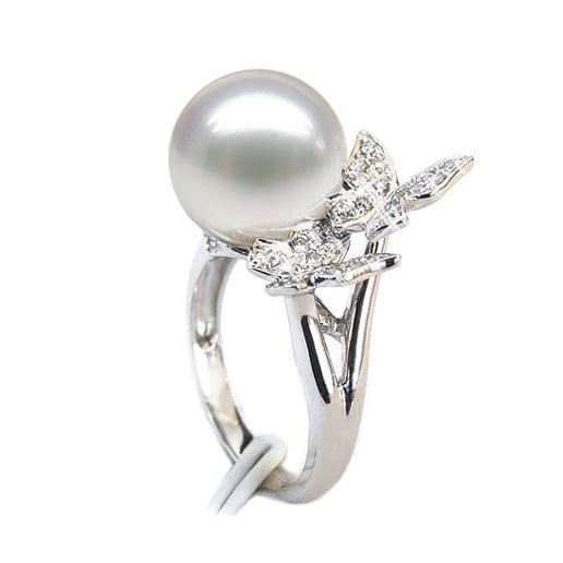 Bague papillons gracieux - Perle d'Australie - Or blanc, diamants