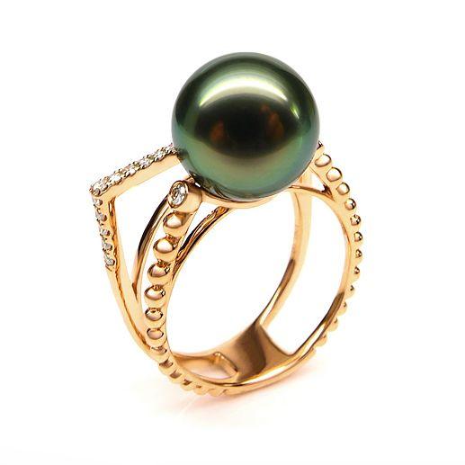 Bague perle de Tahiti, Or jaune, diamants - Saperlipopette