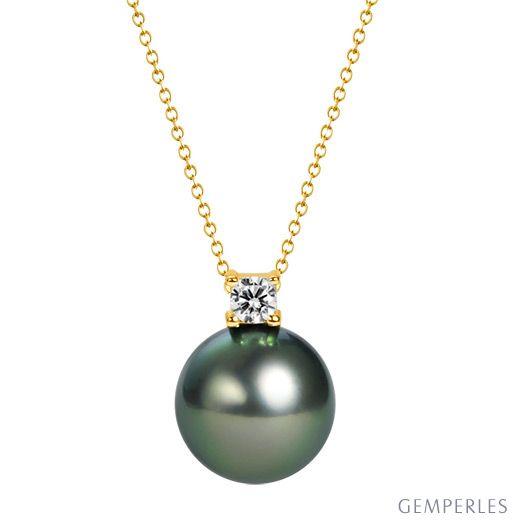 Ciondolo Ginza - Oro Giallo 18kt, Diamante e Perla di Tahiti