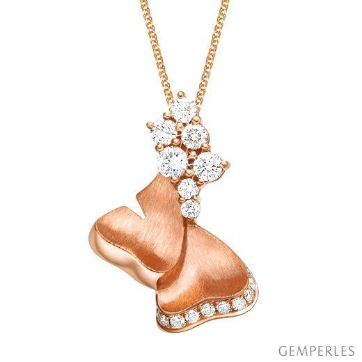 Pendentif inspiration nature - Or rose, diamants sertis grains 0.32ct
