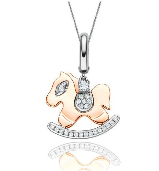 Pendentif ludique 2 ors - Le cheval à bascule - Diamants 0.145ct
