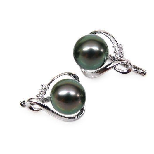Boucles oreilles dormeuses clips - Perles de Tahiti - Or blanc, diamants