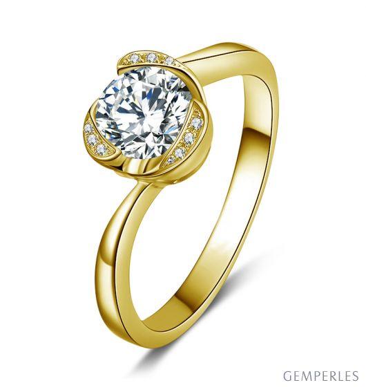 Bague Solitaire Délicatesse Or Jaune 18cts - Forme Coeur - Diamants | Gemperles
