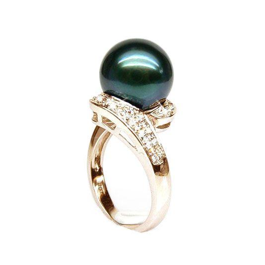 Bague Tuamotu - Perle de Tahiti noire émeraude - Or jaune, diamants