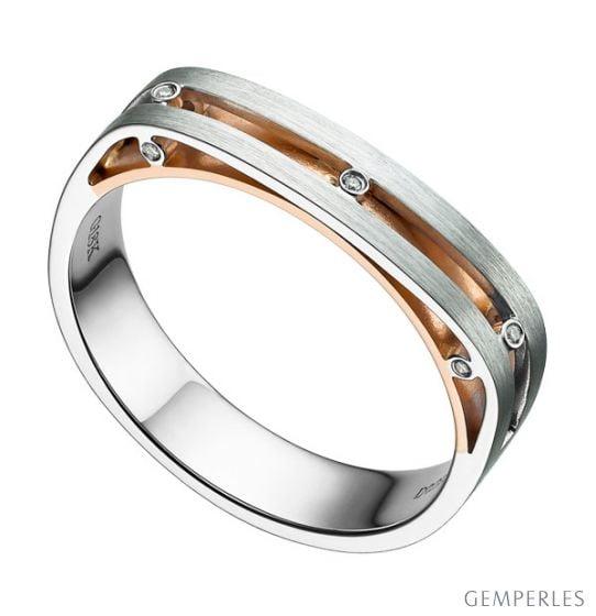 Bague contemporaine or blanc et rose 18cts - Diamant 0.02ct | Junon