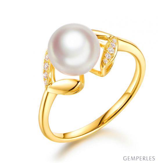 Bague pétales Or jaune, diamants et perles Akoya Japon