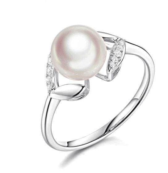 Bague pétales Or blanc, diamants et perles Akoya Japon