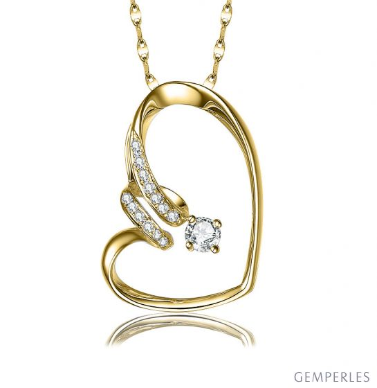 Pendentif coeur - Aile de papillon - Diamants, or jaune