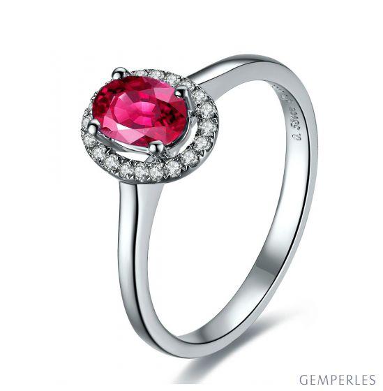 Bague rubis diamants et or blanc - Classique - Contraste éblouissant