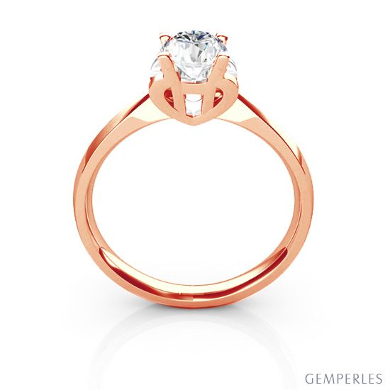 Bague prénom - Lettre H - Diamant, or rose   Gemperles