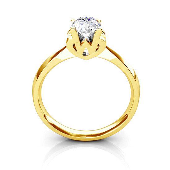 Bague prénom - Lettre W - Diamant, Or jaune   Gemperles