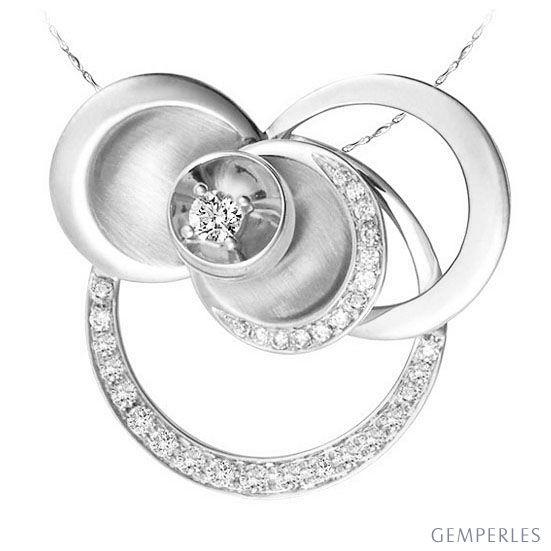 Mélange de courbes sinueuses formant un pendentif or blanc - Diamants