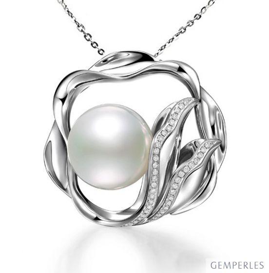Pendentif fleur de lotus - Perle d'Australie, or blanc, diamants