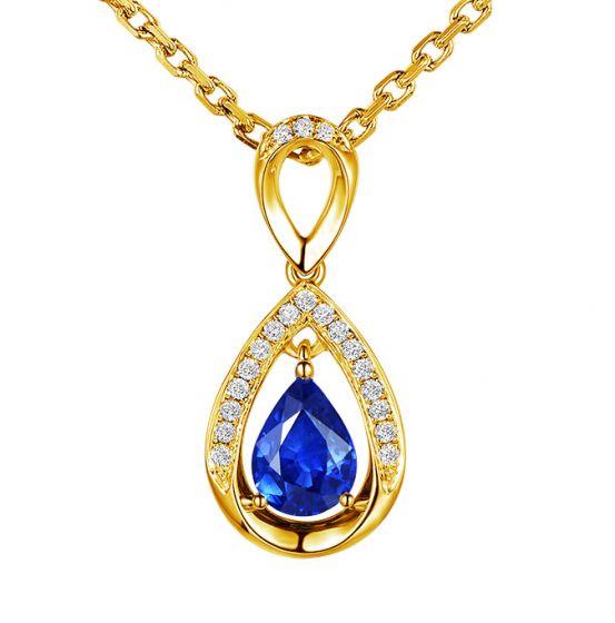 Pendeloque Or jaune 18 carats - Saphir et Diamants en poire