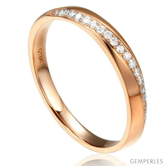 Alliance Or rose 18cts, diamants. Sertissage formant une ondulation | Aurelia