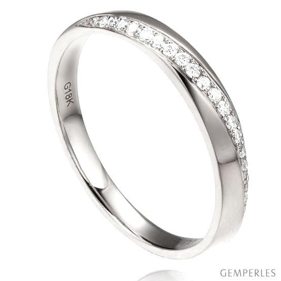 Alliance Femme Or blanc 18cts, diamants. Ondulation | Téa