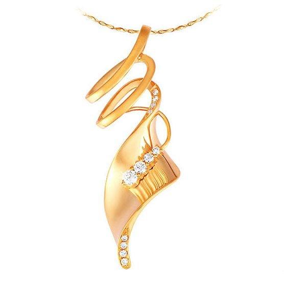 Pendentif or jaune 18 carats - Symbole de l'esprit - Diamants 0.14ct