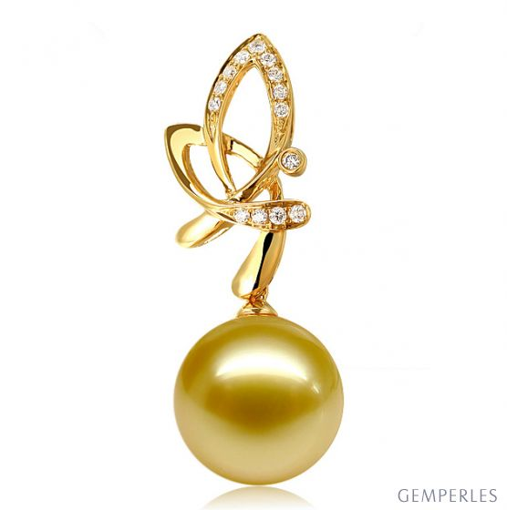 Pendentif allégra  - Papillon or jaune - Perle d'Australie, diamants