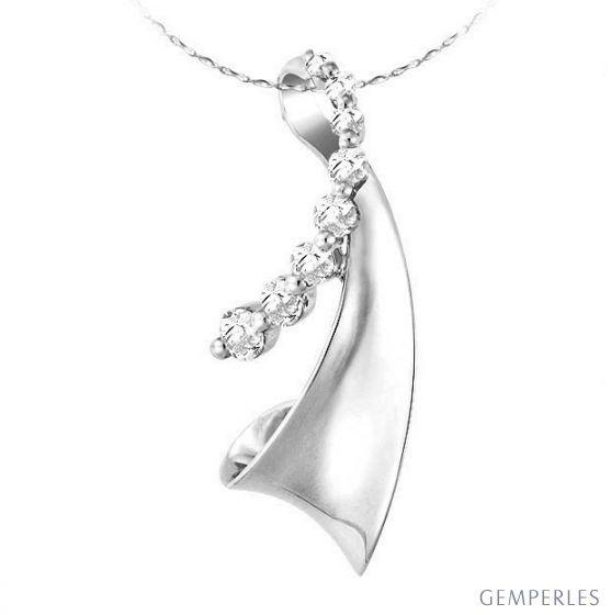 Pendentif création moderne or blanc - 8 Diamants 2 griffes 0.29ct