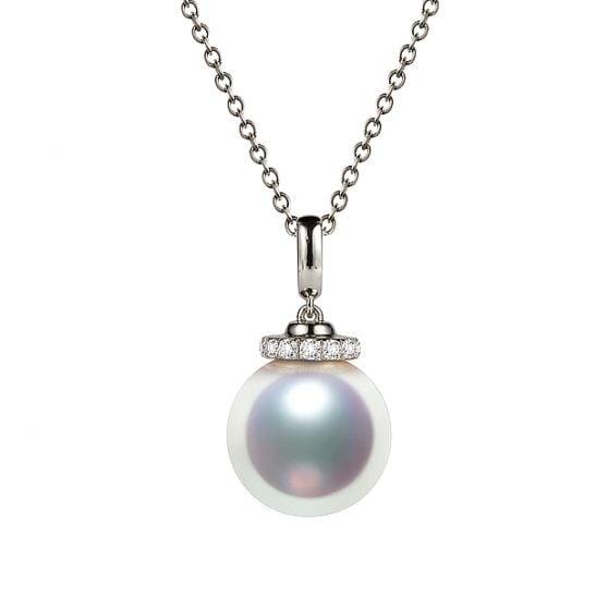 Pendentif Ojo. Perle Akoya Japon. Couronne Diamants, Or blanc