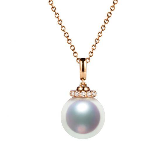 Pendentif Ojo. Perle Akoya Japon. Couronne Diamants, Or rose