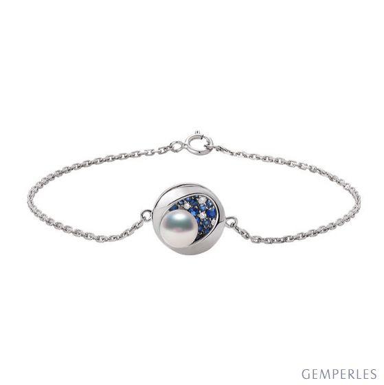 Bracelet perle Akoya - Diamant, saphir, Or blanc I Seiza
