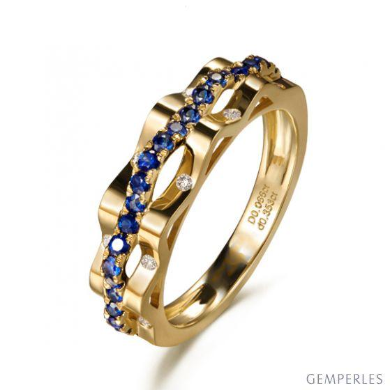 Bague création vague. Saphir & Diamant, or jaune