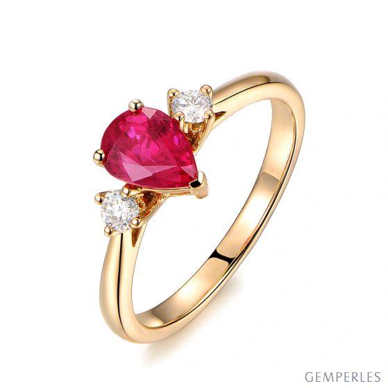 Bague Amour. Or jaune, rubis 1ct taillé en poire, diamants