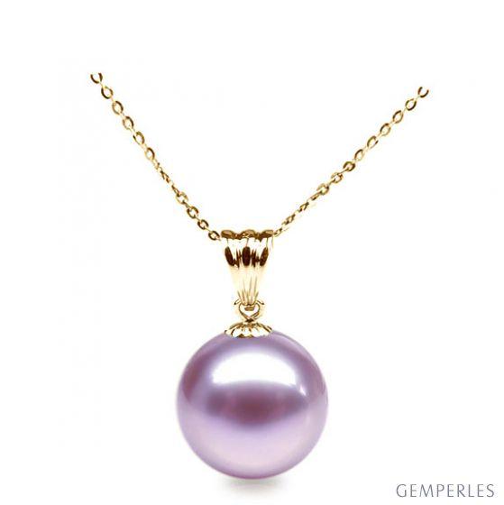 Collier une perle lavande. Pendentif or jaune