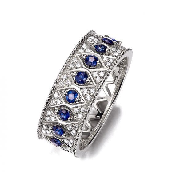 Bague saphir Palais Farnese - Or blanc, saphir & diamant