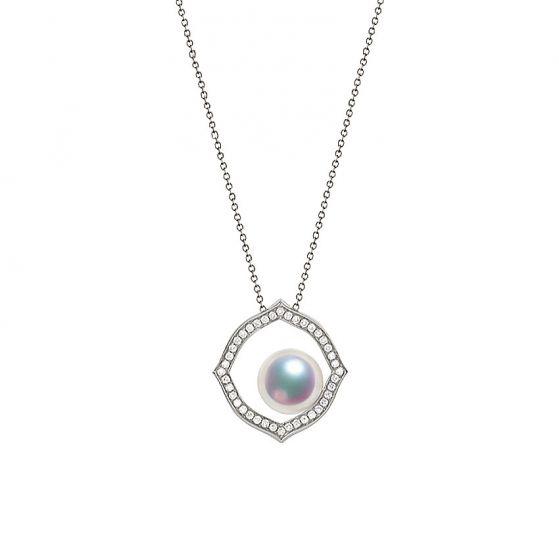 Pendentif or blanc perle culture Akoya, Diamant - Coco Chanel