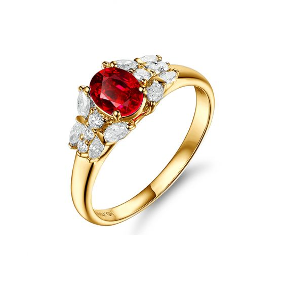 Bague Fiancaille Carlita Rubis Diamants Or Jaune